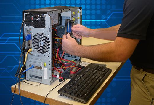 Man fixing computer