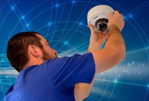 man installing camera