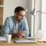 Man working from home at desk,