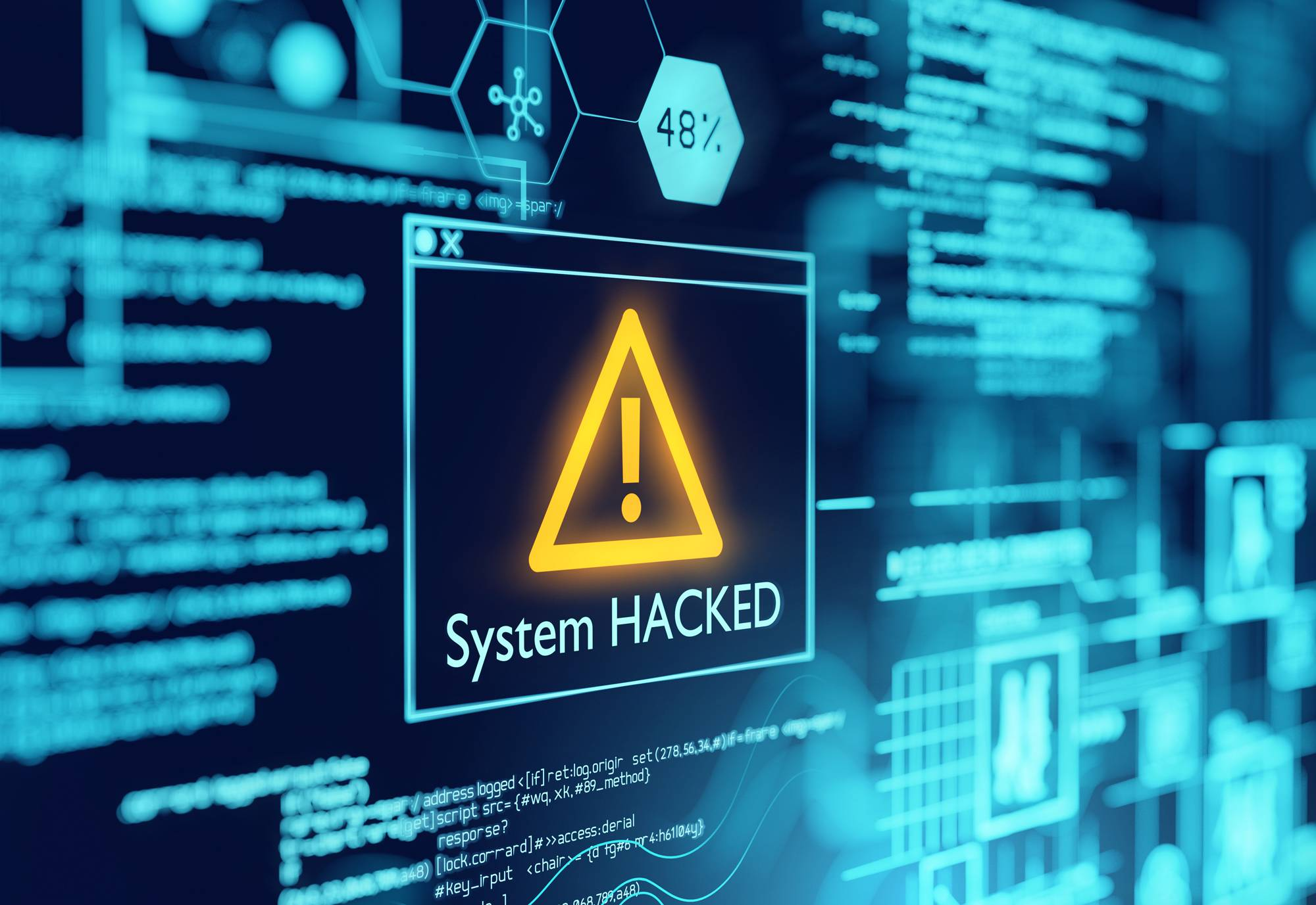System Hacked on computer screen.
